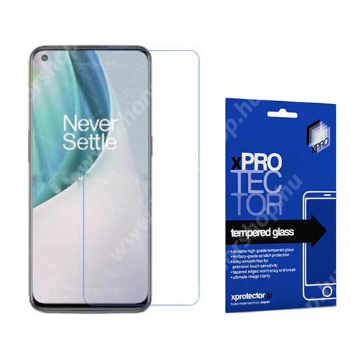 Xpro előlap védő karcálló edzett üveg - 0,33 mm vékony, 9H, Arc Edge, A képernyő sík részét védi - OnePlus Nord N10 5G - GYÁRI