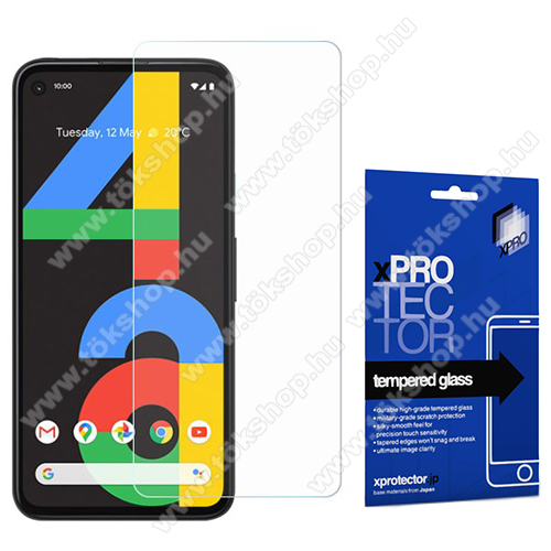 Xpro előlap védő karcálló edzett üveg - 0,33 mm vékony, 9H, Arc Edge, A képernyő sík részét védi - Google Pixel 4a 4G - GYÁRI