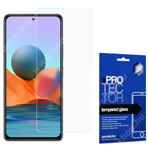 Xpro előlap védő karcálló edzett üveg - 0,33 mm vékony, 9H, Arc Edge, A képernyő sík részét védi - Xiaomi Redmi Note 10 / Redmi Note 10S - GYÁRI
