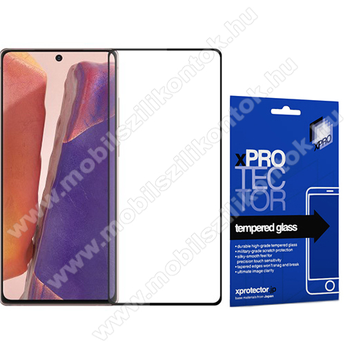 Xpro előlap védő karcálló edzett üveg - FEKETE - 9H, 0,33mm, A teljes felületén tapad - SAMSUNG Galaxy Note20 5G (SM-N981B/DS) - A TELJES KIJELZŐT VÉDI! - GYÁRI
