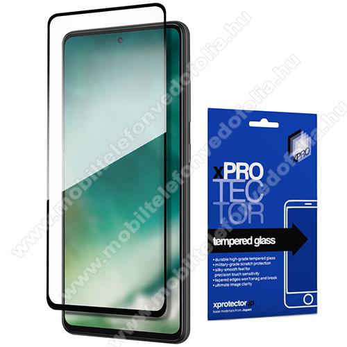 Xpro előlap védő karcálló edzett üveg - FEKETE - 9H, 0,33mm, A teljes felületén tapad! - A TELJES KIJELZŐT VÉDI! - SAMSUNG Galaxy A72 5G (SM-A726F) / Galaxy A72 4G (SM-A725F) - GYÁRI