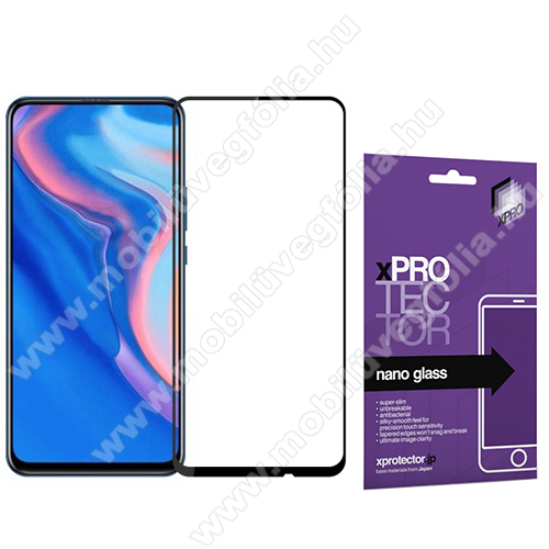 Xpro Flexible 9H Nano Glass rugalmas edzett üveg - FEKETE - 0,15 mm vékony, A TELJES KIJELZŐT VÉDI! - HUAWEI P smart Pro (2019) / HUAWEI P Smart Z / HUAWEI Y9s / Honor 9X (Global) / Honor 9X (China) / Honor 9X Pro (China) - GYÁRI