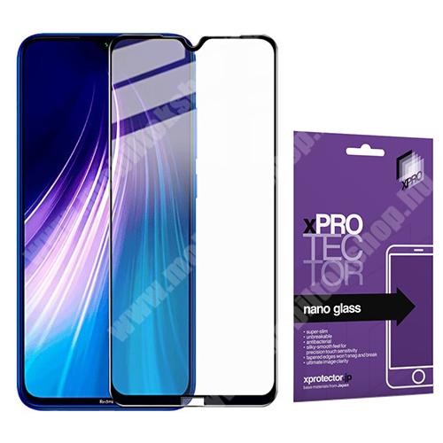 Xpro Flexible 9H Nano Glass rugalmas edzett üveg - FEKETE - 0,15 mm vékony, A TELJES KIJELZŐT VÉDI! - Xiaomi Redmi Note 8 - GYÁRI