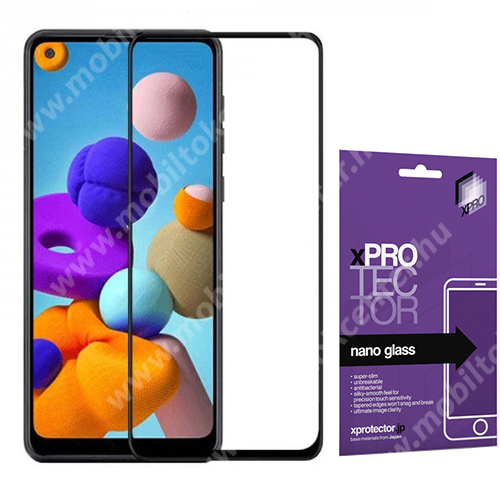 Xpro Flexible 9H Nano Glass rugalmas edzett üveg - FEKETE - 0,15 mm vékony, A TELJES KIJELZŐT VÉDI! - SAMSUNG SM-A217F Galaxy A21s / SAMSUNG Galaxy A21 (SM-A210F) - GYÁRI