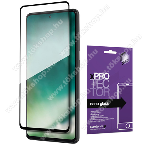Xpro Flexible 9H Nano Glass rugalmas edzett üveg - FEKETE - 0,15 mm vékony, A TELJES KIJELZŐT VÉDI! - SAMSUNG Galaxy A52 5G (SM-A526F) / Galaxy A52 4G (SM-A525F) - GYÁRI