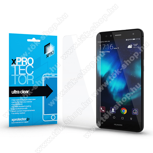 Xpro képernyővédő fólia - Clear - 1db, törlőkendővel, A képernyő sík részét védi! - HUAWEI P10 Lite - GYÁRI