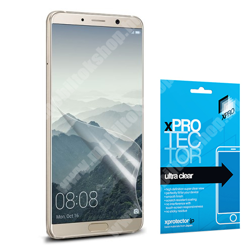 Xpro képernyővédő fólia - Clear - 1db, törlőkendővel, A képernyő sík részét védi! - HUAWEI Mate 10 Pro - GYÁRI