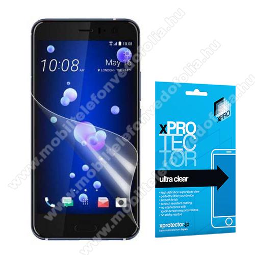 Xpro képernyővédő fólia - Clear - 1db, törlőkendővel, A képernyő sík részét védi! - HTC U11 - GYÁRI