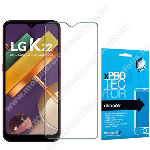 Xpro képernyővédő fólia - Clear - 1db, törlőkendővel, A képernyő sík részét védi! - LG K22 - GYÁRI