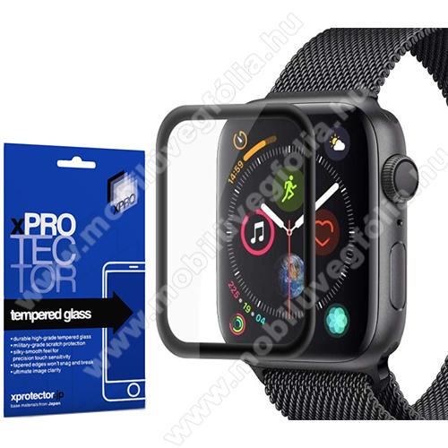 Xpro okosóra előlap védő karcálló edzett üveg - 1db, 9H, 3D, A teljes felületén tapad! - A TELJES ELŐLAPOT VÉDI! - FEKETE - Apple Watch Series 4 40mm / Apple Watch Series 5 40mm - GYÁRI