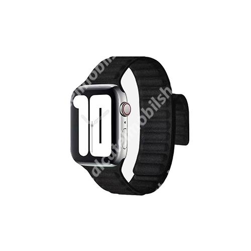 Xpro okosóra szíj - valódi bőr, mágneses - FEKETE - Apple Watch Series 1/2/3 38mm / APPLE Watch Series 4/5/6 40mm / Watch SE 40mm - GYÁRI