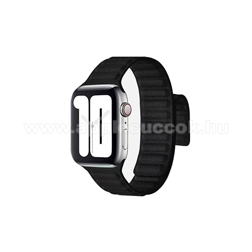 APPLE Watch Series 2 38mm Xpro okosóra szíj - valódi bőr, mágneses - FEKETE - Apple Watch Series 1/2/3 38mm / APPLE Watch Series 4/5/6 40mm / Watch SE 40mm - GYÁRI