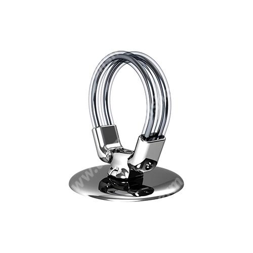 XPRO Smart Ring R1 fém ujjtámasz, gyűrű tartó - Biztos fogás készülékéhez, asztali tartó funkció, 360°-ban forgatható - EZÜST - GYÁRI