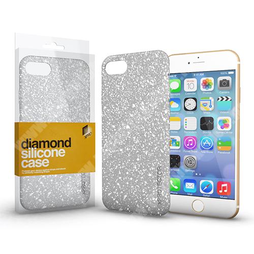 Xpro szilikon védő tok / hátlap - Diamond, csillogó hátlap - EZÜST - APPLE iPhone SE (2020) / APPLE iPhone 7 / APPLE iPhone 8 - GYÁRI