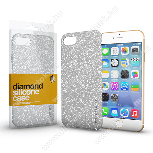 Xpro szilikon védő tok / hátlap - Diamond, csillogó hátlap - EZÜST - APPLE iPhone SE (2020) / APPLE iPhone 7 / APPLE iPhone 8 - GYÁRI