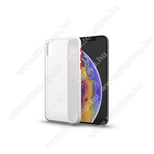 Xpro szilikon védő tok / hátlap - MATT! - ÁTTETSZŐ FEHÉR - színes gombokkal - SAMSUNG Galaxy A41 (SM-A415F) - GYÁRI