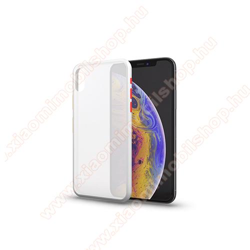 Xpro szilikon védő tok / hátlap - MATT! - FEHÉR / ÁTTETSZŐ - színes gombokkal - Xiaomi Redmi Note 8 - GYÁRI