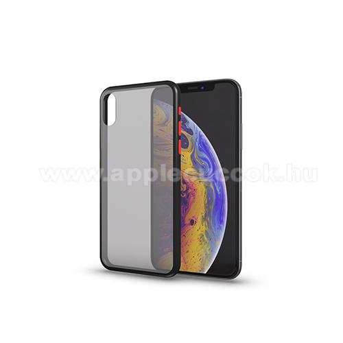 Xpro szilikon védő tok / hátlap - MATT! - FEKETE / ÁTTETSZŐ - színes gombokkal - APPLE iPhone SE (2020) / APPLE iPhone 7 / APPLE iPhone 8 - GYÁRI