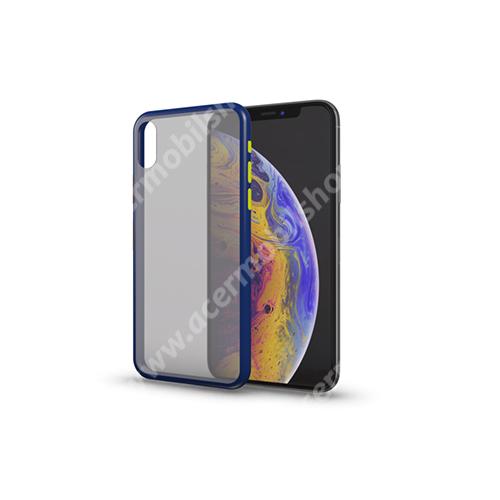 Xpro szilikon védő tok / hátlap - MATT! - KÉK / ÁTTETSZŐ - színes gombokkal - SAMSUNG SM-A217F Galaxy A21s - GYÁRI