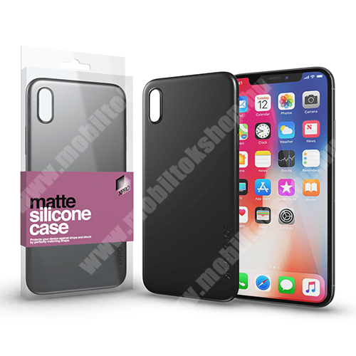Xpro szilikon védő tok / hátlap - ULTRAVÉKONY! 0.33mm - MATT FEKETE - APPLE iPhone X / APPLE iPhone XS - GYÁRI