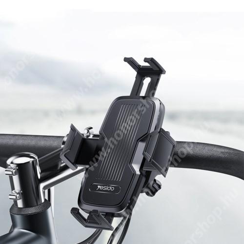 HUAWEI Honor V40 5G YESIDO C127 UNIVERZÁLIS motoros / kerékpáros tartó konzol mobiltelefon készülékekhez - kormányra rögzíthető, 360°-ban forgatható, max 180 x 100mm-ig nyíló telefonbölcső - FEKETE
