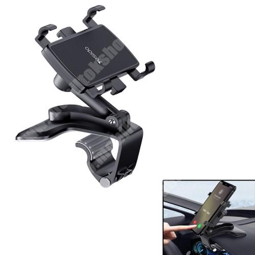 Blackphone YESIDO univerzális gépkocsi / autós tartó - FEKETE - műszerfalra rögzíthető, 53-96mm-ig nyíló bölcsővel, 180°-ban dönthető, 360°-ban elforgatható - C101 - GYÁRI