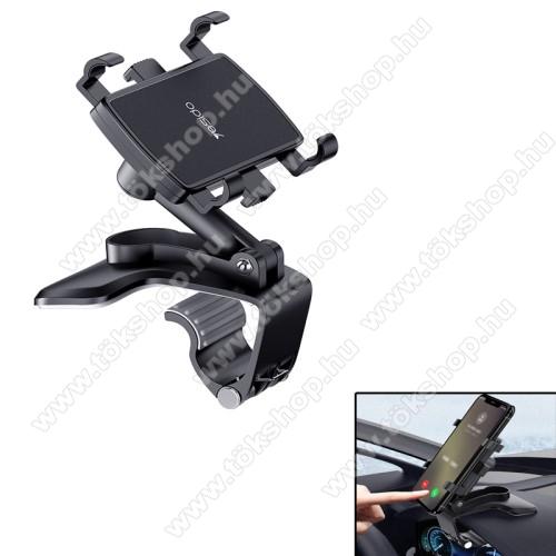 YESIDO univerzális gépkocsi / autós tartó - FEKETE - műszerfalra rögzíthető, 53-96mm-ig nyíló bölcsővel, 180°-ban dönthető, 360°-ban elforgatható - C101 - GYÁRI