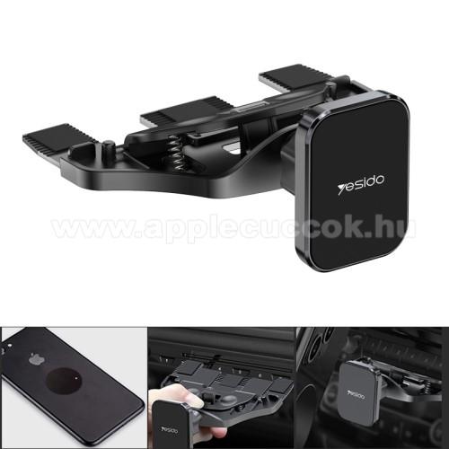 YESIDO UNIVERZÁLIS mágneses autós / gépkocsi tartó - CD / DVD lejátszóba helyezhető, 360°-ban forgatható, 2db fémlappal  - FEKETE - C92 - GYÁRI