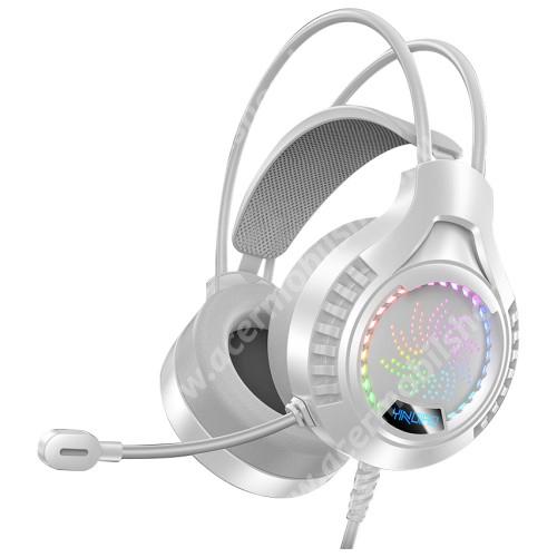 ACER Liquid Z3 YINDAIO Q7 gamer headset / fejhallgató - 3.5mm Jack és USB csatlakozás a világításhoz, 1.8m hosszú kábel, mikrofon, hangerő szabályzó, 40mm átmérőjű hangszóró, LED fény - FEHÉR