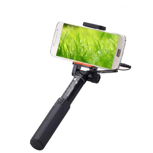 YUNTENG teleszkópos selfie bot - 3.5mm jack csatlakozás, 360°-ban forgatható, 50-80mm-ig állítható telefon tartó bölcső, 20 -80 cm-ig állítható hosszúság - FEKETE