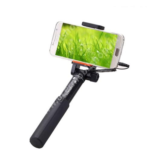 ACER C510 YUNTENG teleszkópos selfie bot - 3.5mm jack csatlakozás, 360°-ban forgatható, 50-80mm-ig állítható telefon tartó bölcső, 20 -80 cm-ig állítható hosszúság - FEKETE