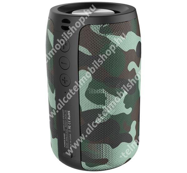 Alcatel OT-810D ZEALOT BLUETOOTH hordozható hangszóró - v5.0, 2000mAh belső akku, mikrofon, 360°-os hangzás, textil, terep minta - ZÖLD - S32_G - GYÁRI