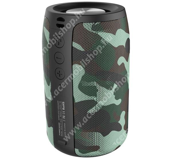 ZEALOT BLUETOOTH hordozható hangszóró - v5.0, 2000mAh belső akku, mikrofon, 360°-os hangzás, textil, terep minta - ZÖLD - S32_G - GYÁRI