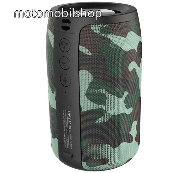 MOTOROLA VE66 ZEALOT BLUETOOTH hordozható hangszóró - v5.0, 2000mAh belső akku, mikrofon, 360°-os hangzás, textil, terep minta - ZÖLD - S32_G - GYÁRI